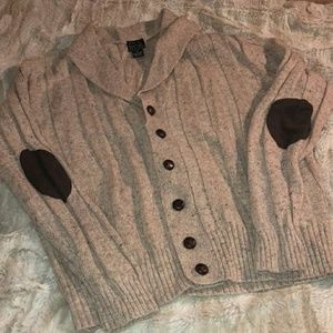 Jos. A Bank Cardigan Sweater, Elbow Patches, XL